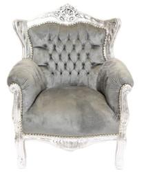 Casa Padrino Baroque Kids Armchair Gray / Silver - Children's Throne - Kinderssel - Furniture
