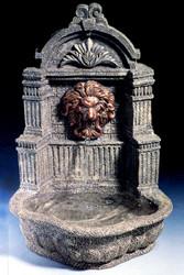 Casa Padrino Baroque Mini Wall Fountain Lion Gray H. 31 cm - Garden Fountain in Baroque Style