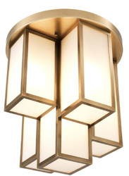 Casa Padrino luxury ceiling lamp antique brass / white Ø 50 x H. 53.5 cm - Luxury Quality