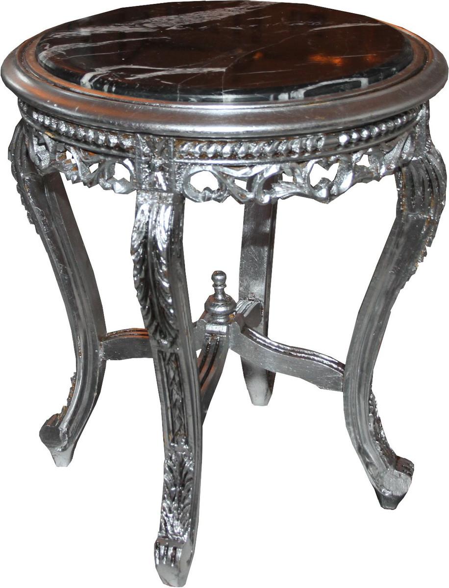 Casa padrino barock beistelltisch silber mit schwarzer for Beistelltisch marmorplatte
