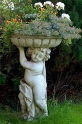 Casa Padrino Art Nouveau Flowerpot with Sculpture Antique Gray Ø 50 x H. 86 cm - Plant Pot - Garden Decoration