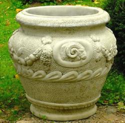 Casa Padrino Barock Blumentopf Grau Ø 59 x H. 66 cm - Runder Prunkvoller Pflanzentopf im Barockstil