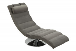 Designer Lounger Relax armchair Gray / Chrome from Casa Padrino - Designer Lounger
