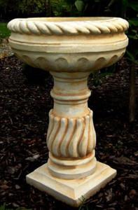 Casa Padrino Baroque Flowerpot with Pedestal White / Beige Ø 40 x H. 65 cm - Round Magnificent Plant Pot in Baroque Style - Flower Tub - Planter