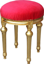 Casa Padrino Baroque stool Red / Gold - Baroque round stool