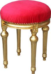 Casa Padrino Barock Sitzhocker Rot / Gold - Barock Rundhocker