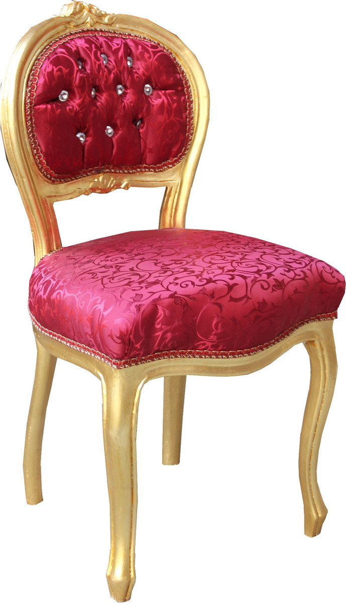 Casa Padrino Barock Damen Stuhl Bordeaux Muster Gold Mit Bling Bling Glitzersteinen Schminktisch Stuhl