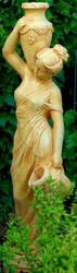 Casa Padrino Art Nouveau Gargoyle Sculpture Woman with Jugs Beige 34 x H. 139 cm - Baroque & Art Nouveau Garden Deco