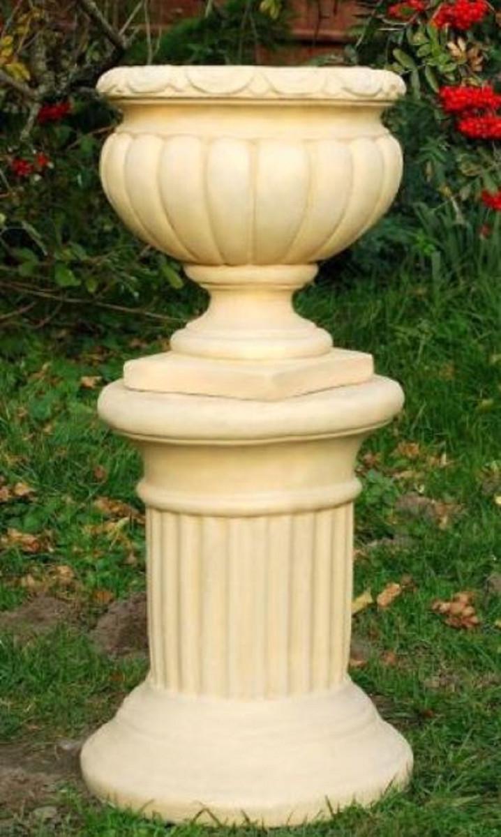Casa Padrino Barock Säule Sandfarben ˜ 32 x H 40 cm Kleine runde Gartensäule im Barockstil Garten Deko Accessoires