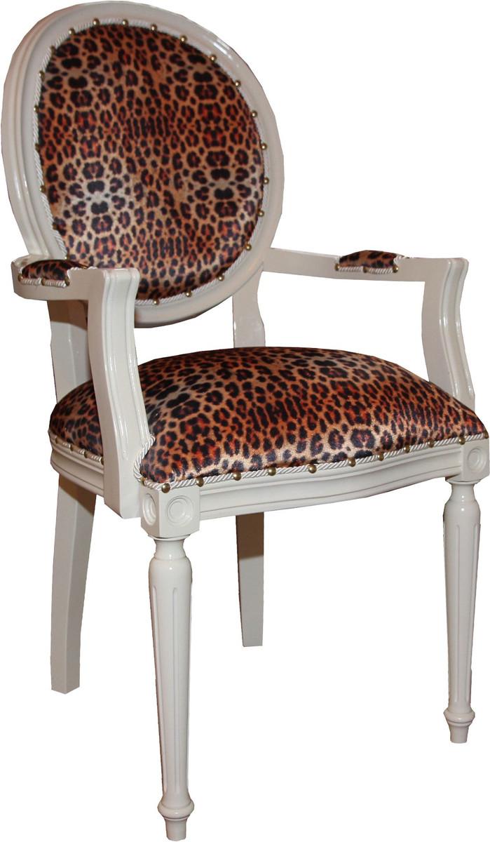 Details Sur Casa Padrino Baroque Salle A Manger Chaise Avec Leopard Creme Meubles Afficher Le Titre D Origine