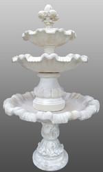 Casa Padrino Barock Gartenbrunnen mit Lilie Weiß Ø 130 x H. 209 cm - Prunkvoller Springbrunnen im Barockstil