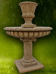 Casa Padrino Baroque Garden Fountain Dark Gray Ø 114 x H. 153 cm - Magnificent Round Fountain with Flowerpot