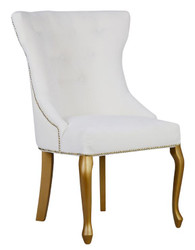 Casa Padrino Luxury Dining Chair Baroque with Metal Back Ring - Luxury Quality - ALL COLORS - Neo Classic Vintage Style Hotel Chair - Furniture