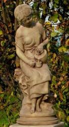 Casa Padrino Art Nouveau Sculpture Milkmaid Gray / Beige 24 x 24 x H. 62 cm - Garden Decoration Stone Figure