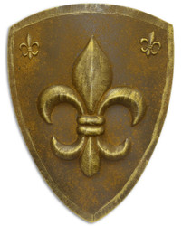 Casa Padrino Metal Knight Shield French Lily Rust / Antique Gold 54 x H. 71 cm - Medieval Deco