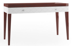 Casa Padrino luxury console table with drawer glossy brown / white 111.2 x 45 x H. 83 cm - Luxury Furniture