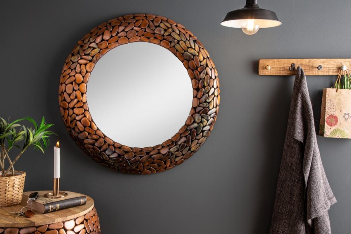 Pareti A Specchio Design specchio da parete design in alluminio di casa padrino - mosaico in pietra  - color rame