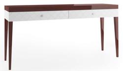 Casa Padrino Luxus Konsolentisch mit 2 Schubladen Hochglanz Braun / Weiß 171,4 x 45 x H. 83 cm - Luxus Möbel