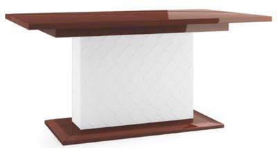 Casa Padrino Mesa de Comedor de Lujo Marrón Brillante / Blanco 160-210 x 90  x H. 77 cm - Mesa de Cocina Moderna y Extensible