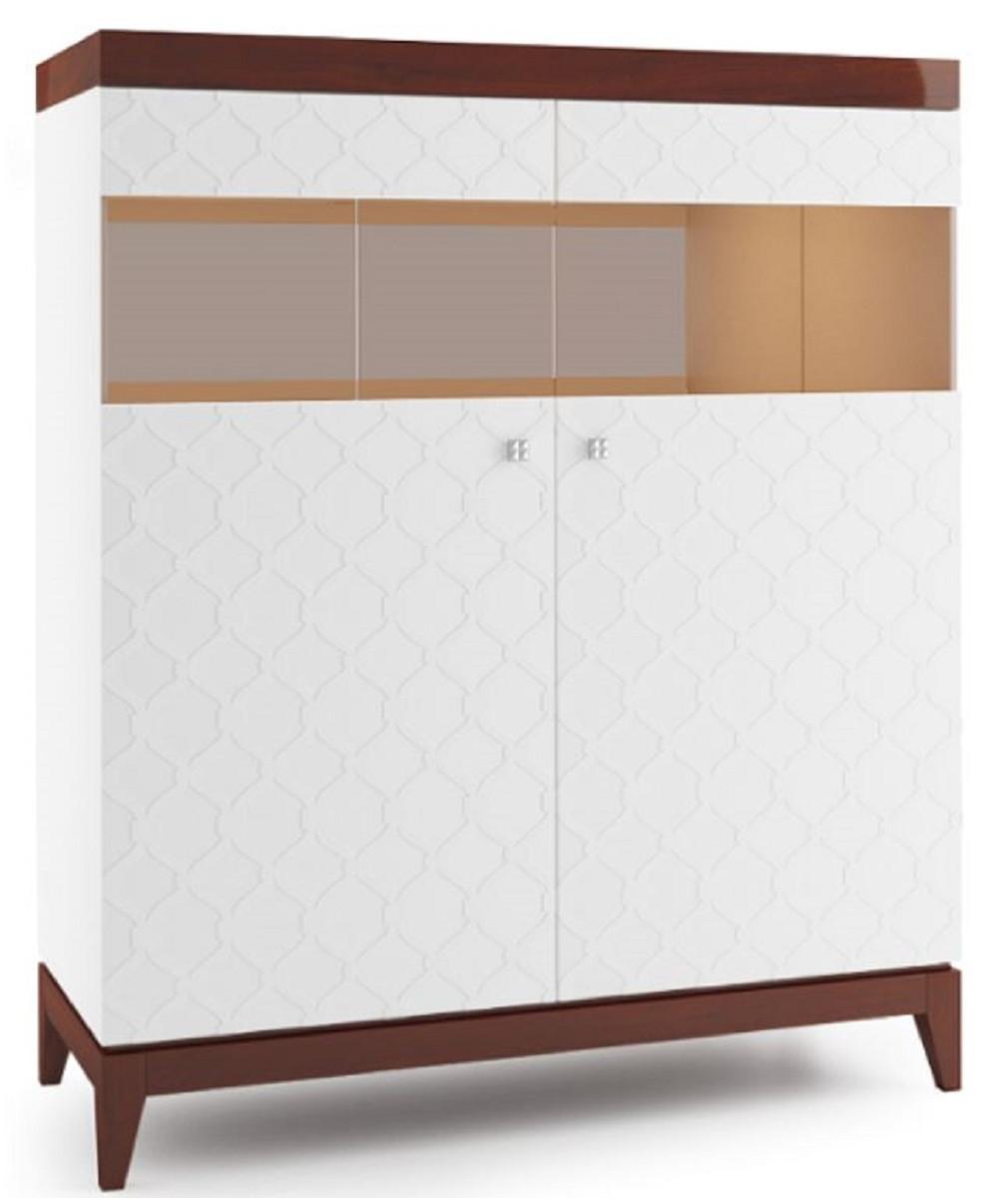 Casa Padrino Luxus Barschrank Mit 2 Türen Weiß Hochglanz Braun 1112 X 45 X H 1328 Cm Luxus Kollektion