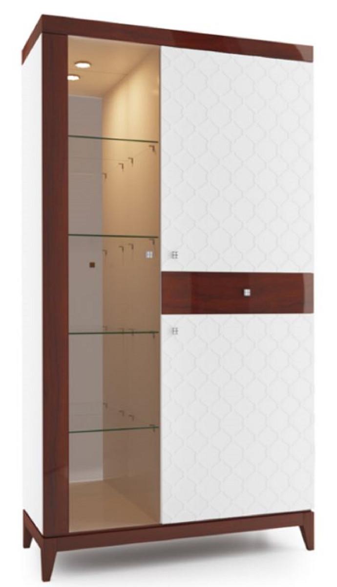casa padrino luxus vitrinenschrank weiß  hochglanz braun