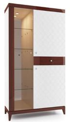Casa Padrino Luxus Vitrinenschrank Weiß / Hochglanz Braun 111,2 x 45 x H. 205 cm - Beleuchteter Wohnzimmerschrank mit 2 Türen und Schublade - Wohnzimmermöbel