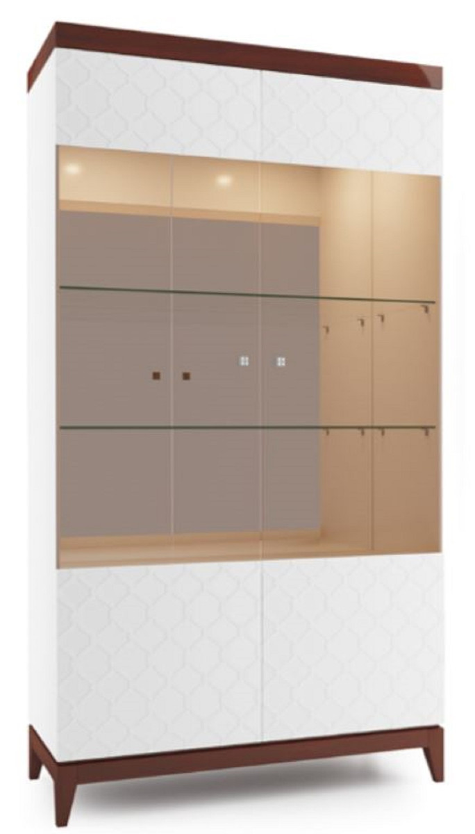 Casa Padrino Armoire Vitrine de Luxe Blanc / Marron Brillant 111,2 x 45 x  H. 205 cm - Armoire de salon lumineux avec 2 grandes étagères en verre - ...