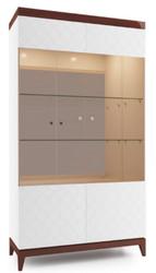 Casa Padrino Luxus Vitrinenschrank Weiß / Hochglanz Braun 111,2 x 45 x H. 205 cm - Beleuchteter Wohnzimmerschrank mit 2 großen Glasregalen - Wohnzimmermöbel