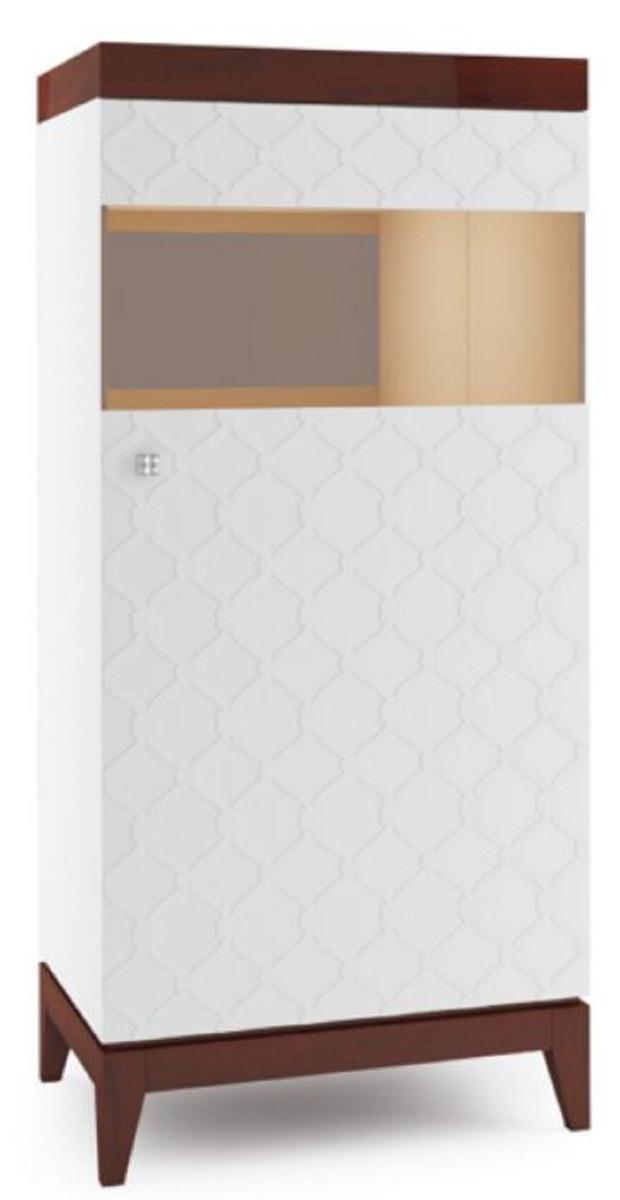 Casa Padrino Luxus Vitrinenschrank Weiß / Hochglanz Braun 61 X 45 X H. 132,