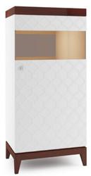Casa Padrino Luxus Vitrinenschrank Weiß / Hochglanz Braun 61 x 45 x H. 132,8 cm - Beleuchteter Wohnzimmerschrank mit Tür - Wohnzimmermöbel