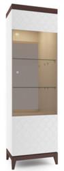 Casa Padrino Luxus Vitrinenschrank Weiß / Hochglanz Braun 61 x 45 x H. 205 cm - Beleuchteter Wohnzimmerschrank mit 2 Glasregalen - Wohnzimmermöbel