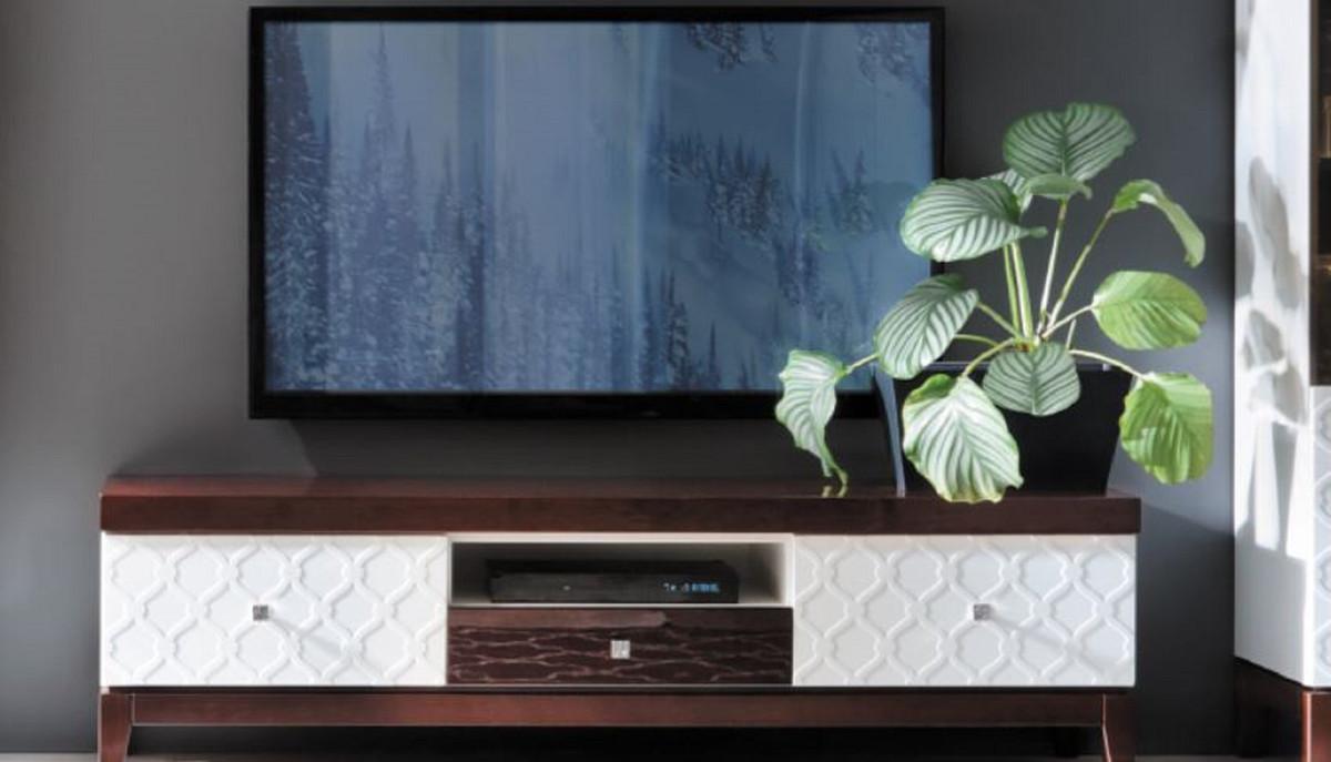 Casa Padrino Luxus Sideboard Mit 3 Schubladen Weiß Hochglanz Braun