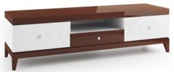 Casa Padrino Luxus Sideboard mit 3 Schubladen Weiß / Hochglanz Braun 171,4 x 45 x H. 49 cm - Wohnzimmermöbel