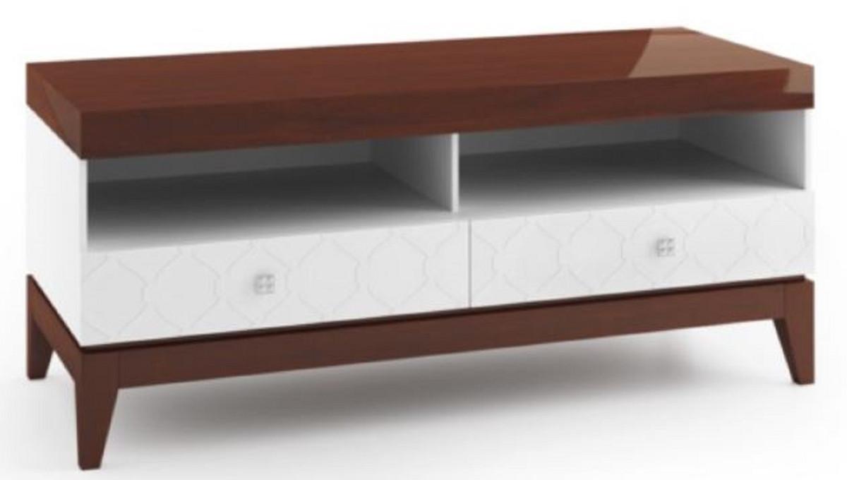 Casa Padrino Luxus Sideboard Mit 2 Schubladen Weiß Hochglanz Braun