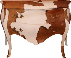 Casa Padrino Baroque Commode Cowhide Brown / White - unique cabinet