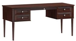 Casa Padrino Luxus Schreibtisch mit 4 Schubladen Dunkelbraun / Silber 160 x 65 x H. 76 cm - Büromöbel