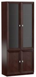 Casa Padrino Luxus Wohnzimmerschrank mit 4 Türen Dunkelbraun / Silber 90,6 x 44,2 x H. 225,6 cm - Luxus Kollektion