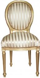 Casa Padrino Barock Esszimmer Stuhl Gold / Gold  Mod2 / Rund