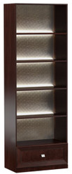 Casa Padrino Luxury Shelf Cabinet Dark Brown / Silver 70.4 x 44.2 x H. 225.6 cm - Illuminated Office Cabinet with Drawer