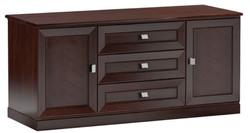 Casa Padrino Luxus Sideboard mit 2 Türen und 3 Schubladen Dunkelbraun / Silber 135 x 44,2 x H. 85,5 cm - Wohnzimmermöbel