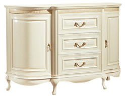 Casa Padrino Luxury Baroque Chest of Drawers Cream / Gold 128.4 x 46.7 x H. 87.7 cm - Sumptuous Dresser with 2 Doors and 3 Drawers - Luxury Quality