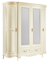 Casa Padrino Luxury Baroque Bedroom Cabinet Cream / Gold 180.5 x 62.6 x H. 206.6 cm - Sumptuous Wardrobe with 4 Doors and 2 Drawers - Bedroom Furniture