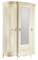 Casa Padrino Luxury Baroque Bedroom Cabinet Cream / Gold 130 x 62.6 x H. 206.6 cm - Sumptuous Wardrobe with 3 Doors and Drawer - Bedroom Furniture