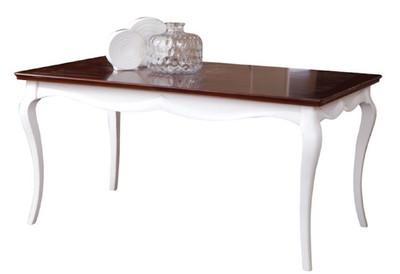 Casa Padrino Mesa de Comedor Art Deco de Lujo Blanco / Marrón Oscuro  160-250 x 90 x H. 77.5 cm - Mesa de Cocina Extensible