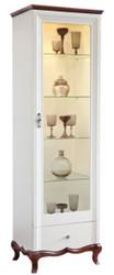 Casa Padrino Luxus Art Deco Vitrinenschrank Weiß / Dunkelbraun 64 x 46,5 x H. 209,5 cm - Beleuchteter Wohnzimmerschrank mit Glastür und Schublade - Wohnzimmermöbel