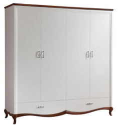 Casa Padrino Luxury Art Deco Bedroom Cabinet White / Dark Brown 204.4 x 62.5 x H. 209.5 cm - Wardrobe with 4 Doors and 2 Drawers - Bedroom Furniture