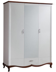 Casa Padrino Luxury Art Deco Bedroom Cabinet White / Dark Brown 164.2 x 62.5 x H. 209.5 cm - Wardrobe with Mirror 2 Doors and Drawer - Bedroom Furniture