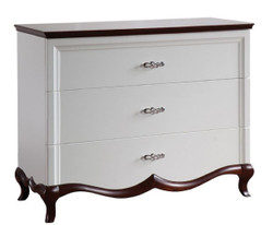 Casa Padrino Luxury Art Deco Dresser with 3 Drawers White / Dark Brown 114 x 46.5 x H. 90.2 cm - Luxury Quality