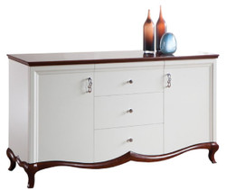 Casa Padrino Luxury Art Deco Dresser with 2 Doors and 3 Drawers White / Dark Brown 164.2 x 46.5 x H. 90.2 cm - Luxury Quality