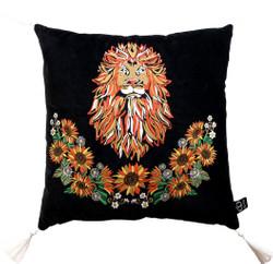 Casa Padrino luxury decorative cushion with tassels Leo black / multicolored 45 x 45 cm - finest velvet fabric - luxury quality